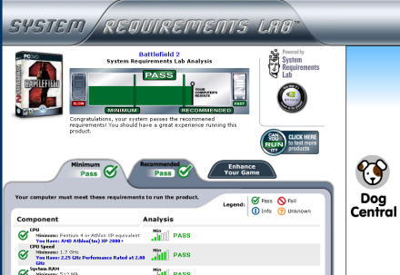 System Requirements Lab shows that my PC can run Battlefield 2