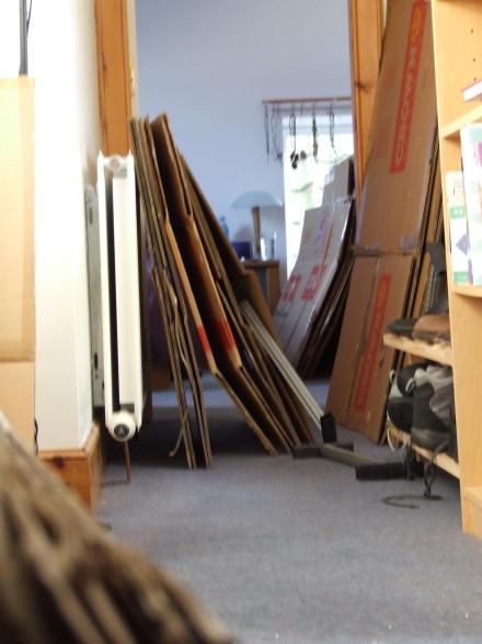 A corridor of boxes