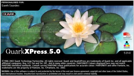 QuarkXPress 5.0 splashscreen shows lilypads and a flower