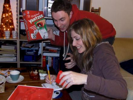Iain and Lisa advertise Yahtzee