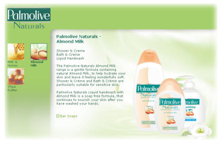 Screenshot of Palmolive Naturals website
