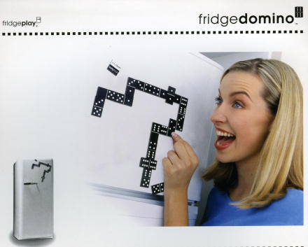 A mad-looking woman playing Fridge Dominoes.