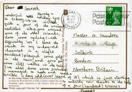 Postcard with writing.