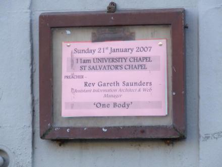University Chapel notice