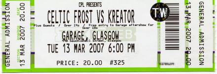 Celtic Frost vs Kreator ticket