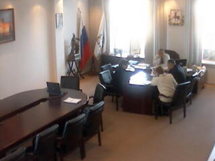 Early morning meeting in a Russian local government office