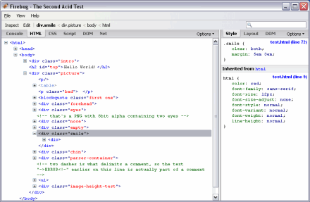 Screenshot of web code