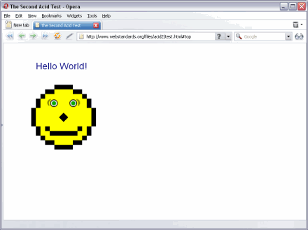 Opera 9 passes the Acid 2 test and shows a smiley face and Hello World!