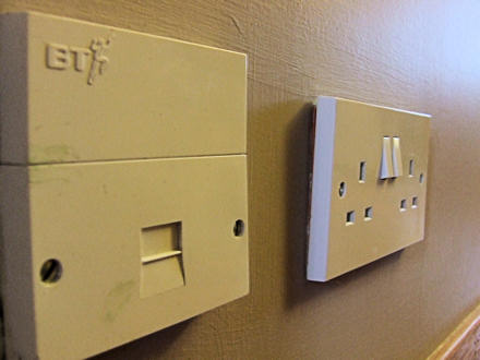 BT master socket, next to a double power socket.