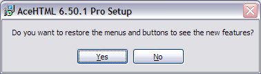 Dialog box reads: Do you want to restore the menus and buttons to see the new features?