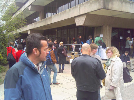 Crowd outside the university library