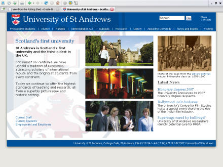 Screenshot of University homepage