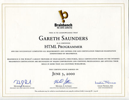 Brainbench HTML Programmer certificate