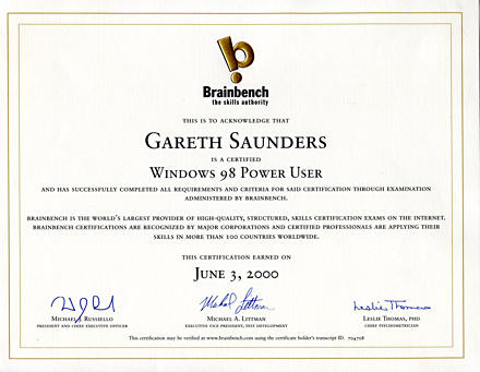 Brainbench Windows 98 Power User certificate