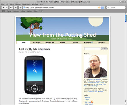 Screenshot of my blog in Safari for Windows