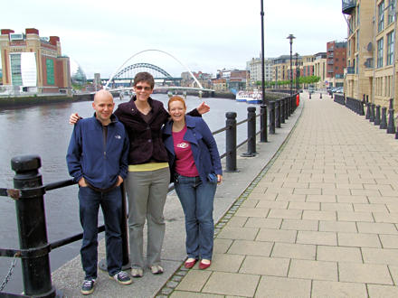 Jane with Kenny and Chris in front of the Newcastle bridge