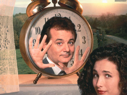 Groundhog Day poster - Bill Murray in a clockface