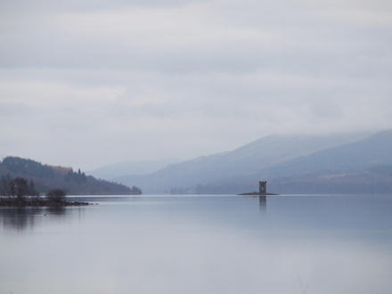 Tower on an island in the middle of a loch