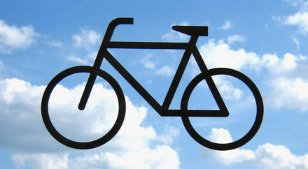 Outline of bike against the sky
