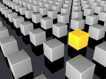 Grey cubes arranged in rows -- one yellow cube