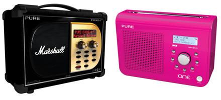 Pure Evoke-1XT Marshall DAB radio and Pure One (pink) DAB radio