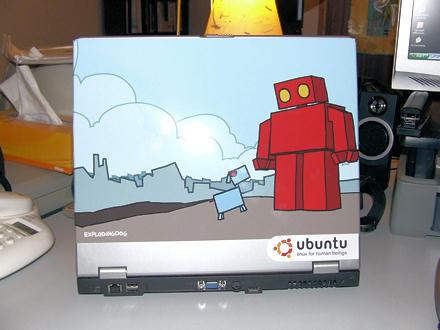 Laptop - back (complete with red robot and blue dog image)