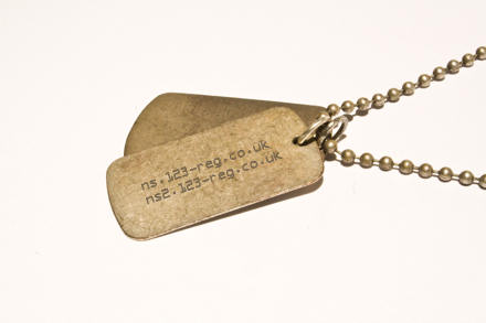 Dog tags with the nameservers for 123-reg on it