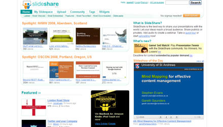 Screenshot of Slideshare