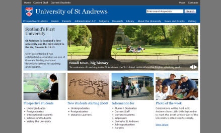 Screenshot of University of St Andrews website