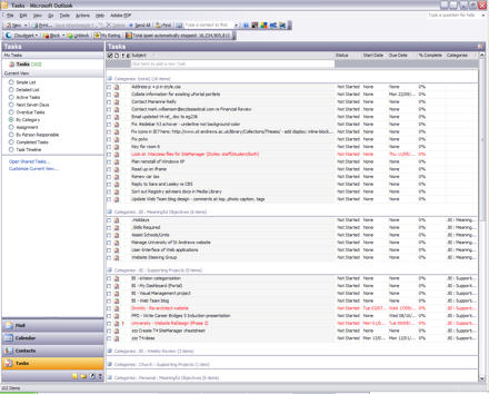 Screenshot of Outlook Tasks 2003