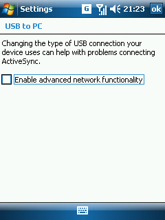 Windows Mobile 6 USB to PC settings