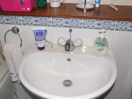 Bathroom sink - with no water supply!