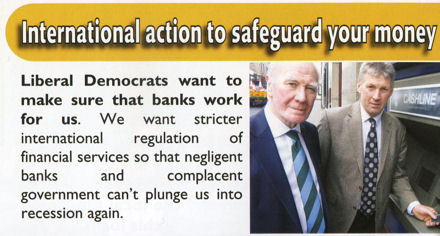 Liberal Democrats flyer showing man putting card into cashmachine.