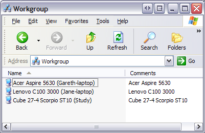 Workgroup list of 3 computers