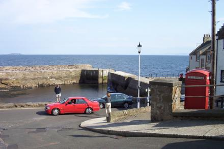 Cellardyke harbour in the summer.