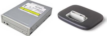 NEC DVD ReWriter drive on left, Belkin USB 7-port hub on right.