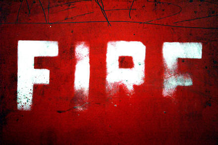 The word FIRE, white text on a red background.