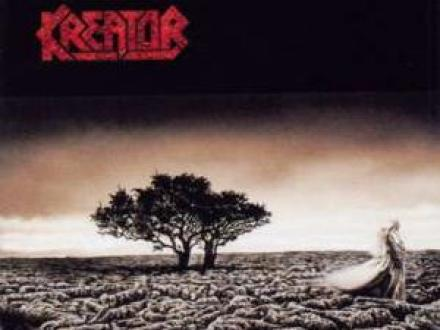 Kreator cover image, shows a tree with a person to the right.
