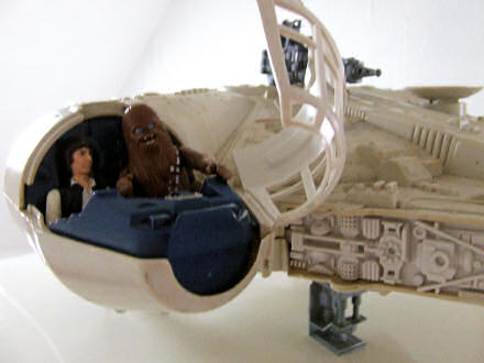 Toy Millennium Falcon, with Han Solo and Chewbacca in the driving seats!