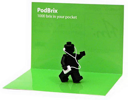 PodBrix - a wee Lego man made to look like the iPod advert