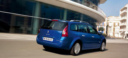 A blue Renault Megane Sport Tourer car