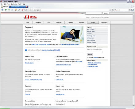 Screenshot of Opera 9 Preview
