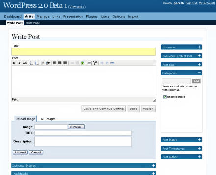 Screenshot of WordPress 2.0 Beta 1