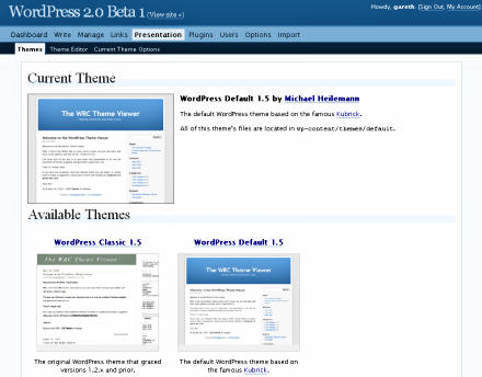 Screenshot of WordPress 2.0 Beta 1 Themes