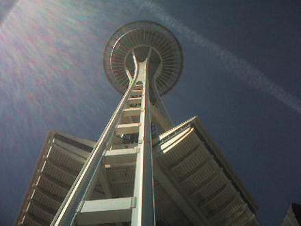 Looking up at the Space Needle in Seattle.