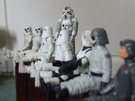 Row of toy Stormtroopers from Star Wars