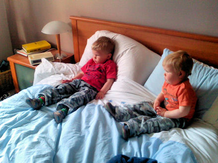 Reuben and Joshua on Mummy and Daddy's bed