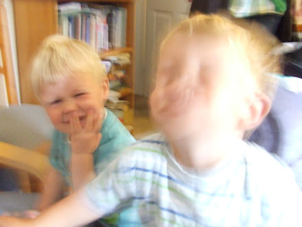 Blurred photograph of Reuben and Joshua in Selkirk