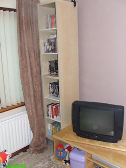 Bookcase with videos next to a TV