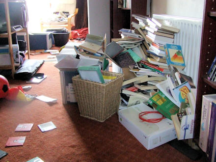 Piles of books and rubbish on my study floor